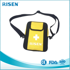 yellow color private label travel survival bag /medical kit/first aid bag with shoulder