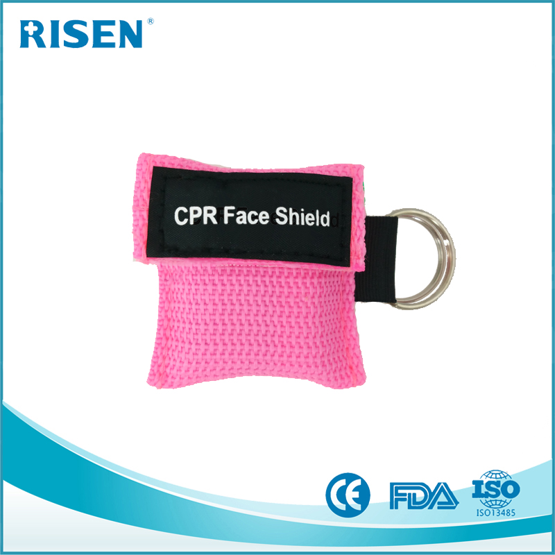 Wholesale factory customize logo CPR Mask Keychain CPR Face shield CPR Life Key